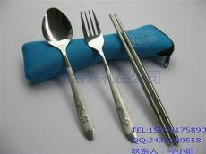 骨头布包不锈钢餐具三件套 便携旅行餐具套
