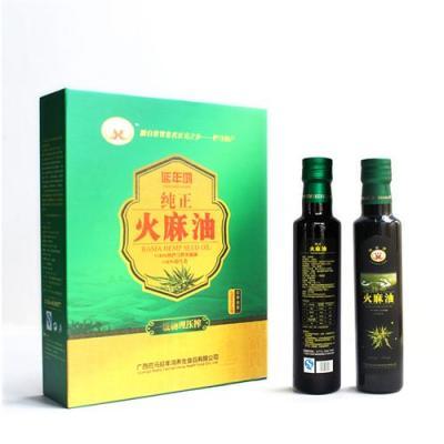 广西巴马100%纯正火麻油精品礼盒装250ml*2