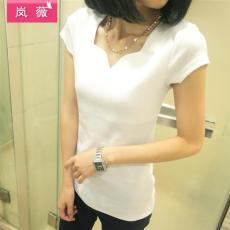 岚薇 新款女装 韩版修身显瘦 打底衫t恤花瓣
