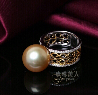 金色南洋珍珠戒指 倾意金缕