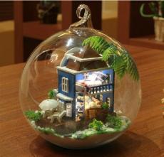 供应diy小屋可爱玻璃球建筑模型