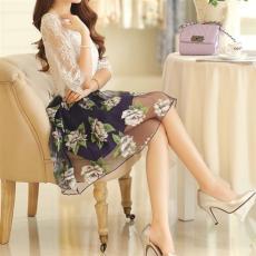 连衣裙 女 新款 韩版气质修身 两件套蕾丝短